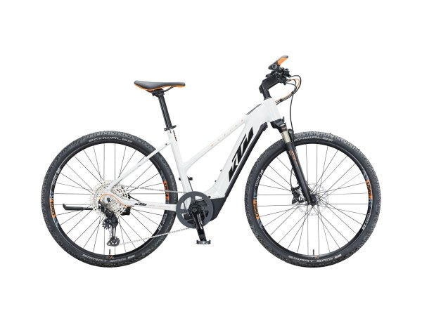 Dámské elektrokolo KTM MACINA CROSS 610 625Wh 2021 metallic white (black+orange)