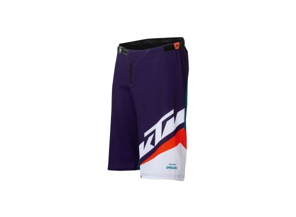 Cyklistické kraťasy KTM FACTORY ENDURO SHORT 2021 petrol/ fire orange